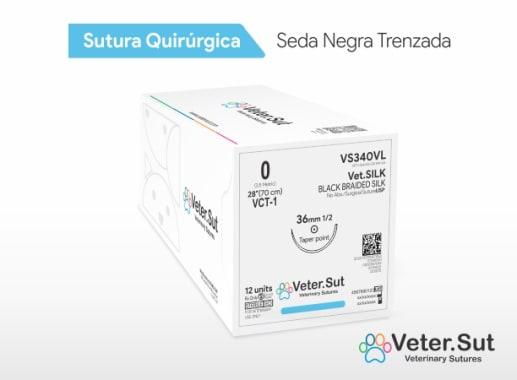 Vet.SILK - Seda Negra Trenzada 4/0 Aguja 1/2 Círculo Redonda 25 mm x 75 cm Veter.Sut