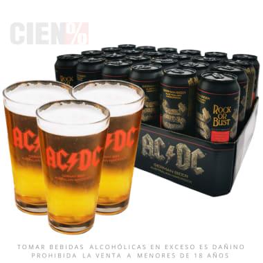 Pack Cerveza ACDC 24 Latas 568 ml + 03 Vasos ACDC (DELIVERY GRATIS)