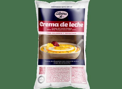 Crema De Leche Alpina  Bolsa x 200ml