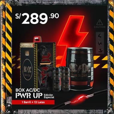 """BOX ACDC """"PWR UP"""" Edición Especial : 01 barril + 12 Latas ACDC (STOCK LIMITADO)"""