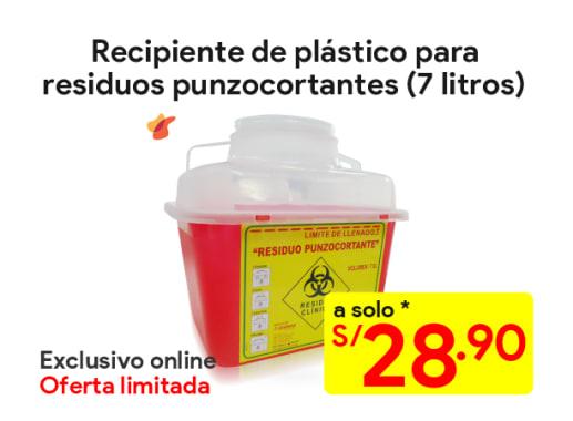 Recipiente de plástico para residuos punzocortantes 7 litros