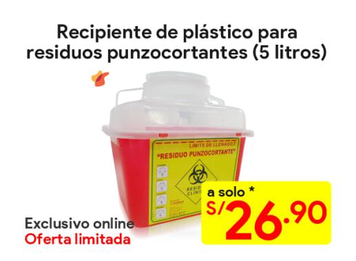 Recipiente de plástico para residuos punzocortantes 5 litros