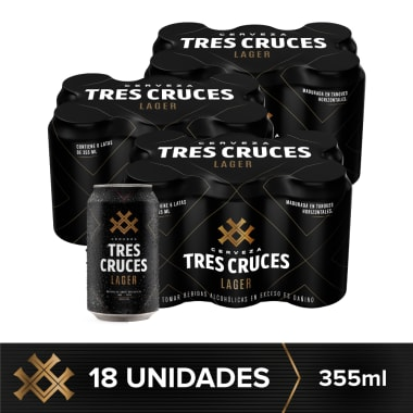 Combo Tres Cruces Lager 18 Latas 355ml