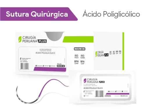 Ácido Poliglicólico 2/0 Aguja 3/8 Círculo Cortante 30 mm x 70 cm Cirugía Peruana