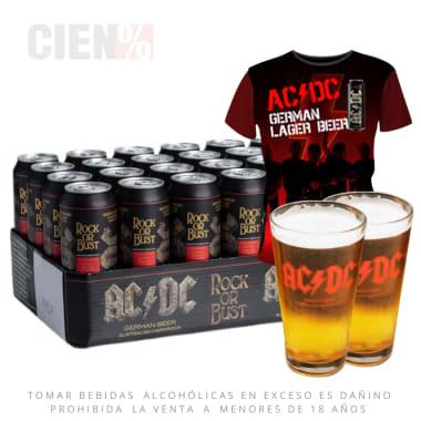 Pack Cerveza ACDC 24 Latas 568 ml + 02 Vasos ACDC + Polo ACDC (DELIVERY GRATIS)