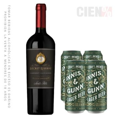 Combo Vino Reserva Secret Cabernet Sauvignon + 4 Innis Lager 400 ml Lata
