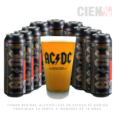 Pack Cerveza ACDC 10 Latas 568Ml + 1 Vaso
