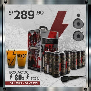 """BOX ACDC """"80s"""" Edición Especial : 24 Latas ACDC + 2 Vasos (STOCK LIMITADO)"""