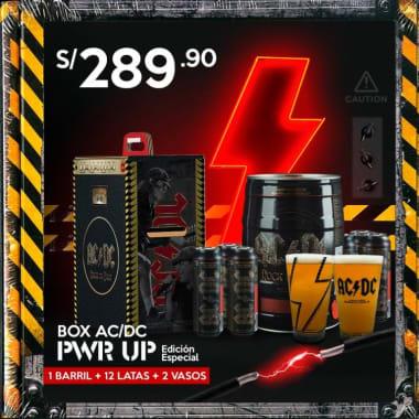 """BOX ACDC """"PWR UP"""" Edición Especial : 01 barril + 12 Latas ACDC + 2 Vasos (STOCK LIMITADO)"""