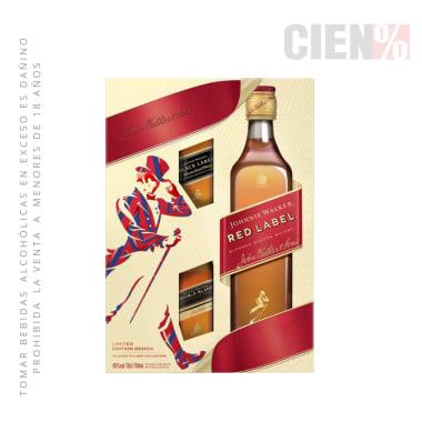 Pack Whisky JOHNNIE WALKER Red Label Botella 750ml + 02 Black Label 50 ml