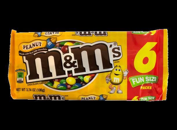 Chocolate M&M'S Peanut Fun Size Pack Mars Paquete 6 unidades