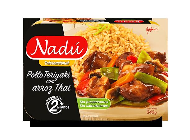 Pollo teriyaki con arroz thai