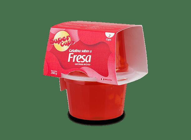 Gelatina de fresa con trozos de durazno