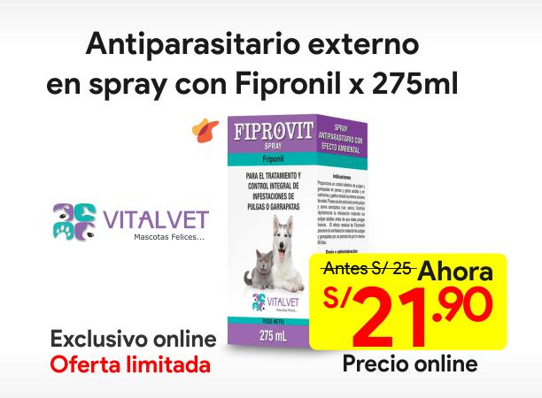 FIPROVIT SPRAY Antiparasitario Externo con Fipronil 275 ml