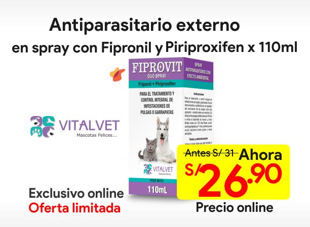 FIPROVIT DUO SPRAY Antiparasitario Externo con Fipronil y Piriproxifen 110 ml