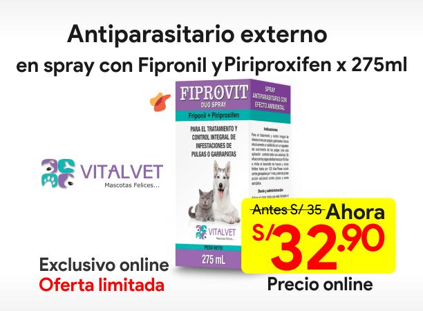 FIPROVIT DUO SPRAY Antiparasitario Externo con Fipronil y Piriproxifen 275 ml