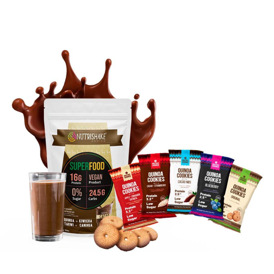 1 Proteína Vegana Cacao + 20 Quinoa Cookies