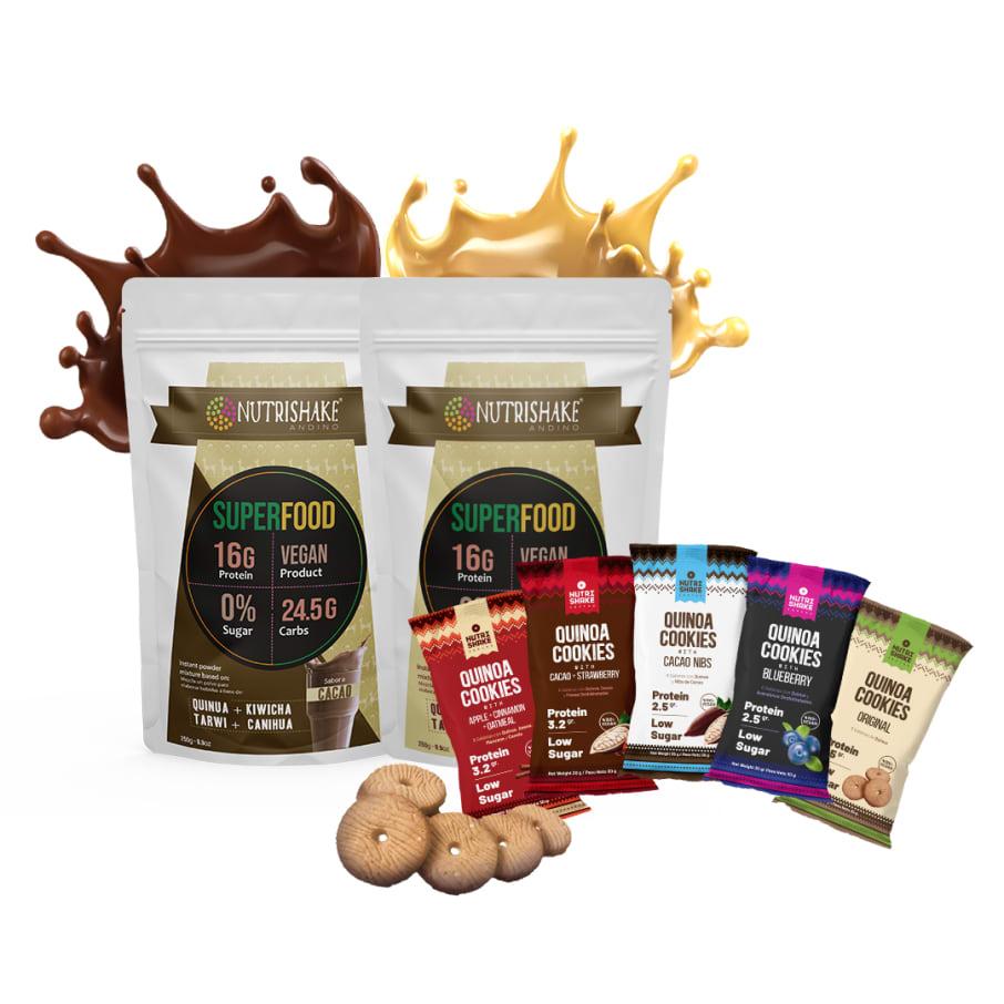 2 Proteína Vegana Mix + 5 Quinoa Cookies