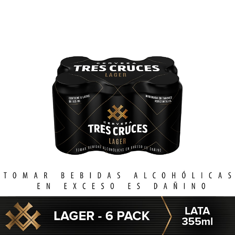 Cerveza Tres Cruces Lager 355 ml