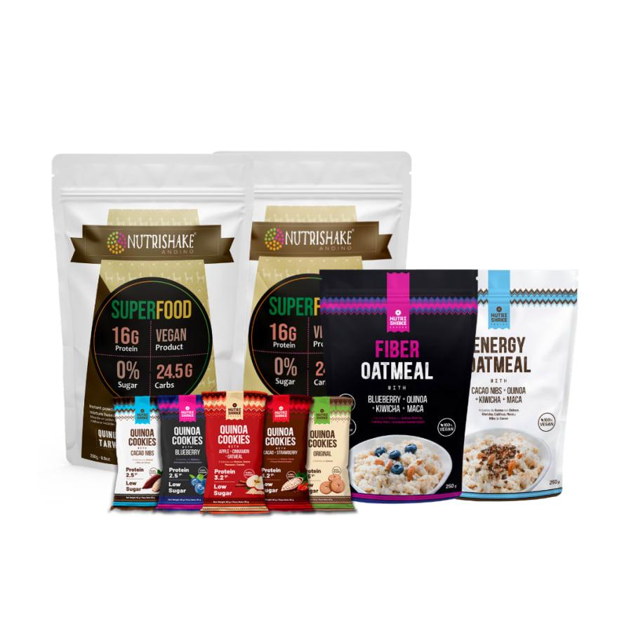 2 Proteínas Veganas Mix + 20 Quinoa Cookies + 2 Avenas Surtidas