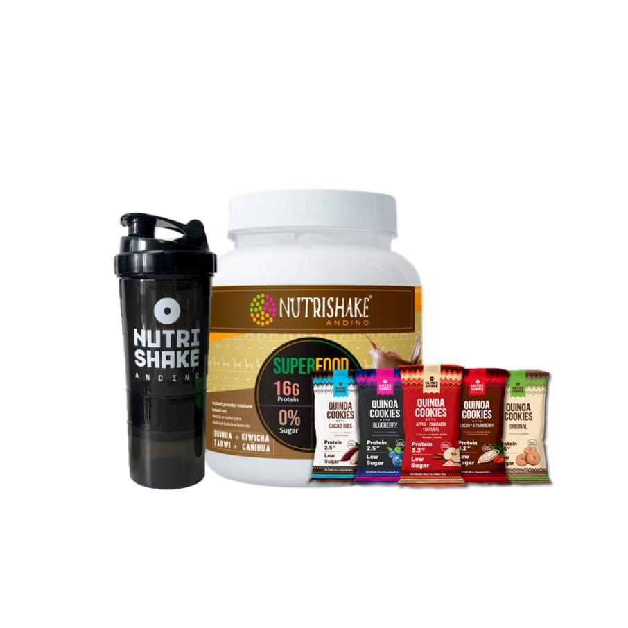 1 Proteína Vegana Cacao + 15 Quinoa Cookies + 1 Shaker