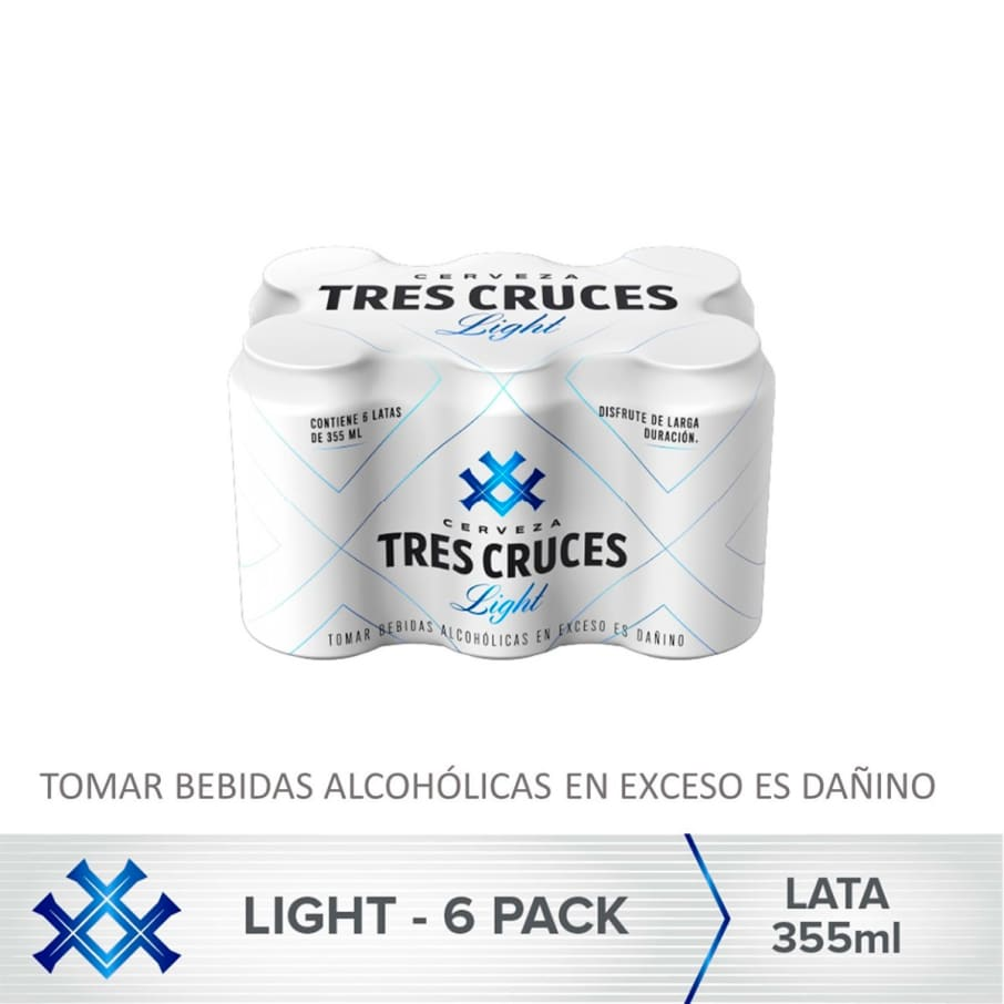Cerveza Tres Cruces Light Lata 355 ml