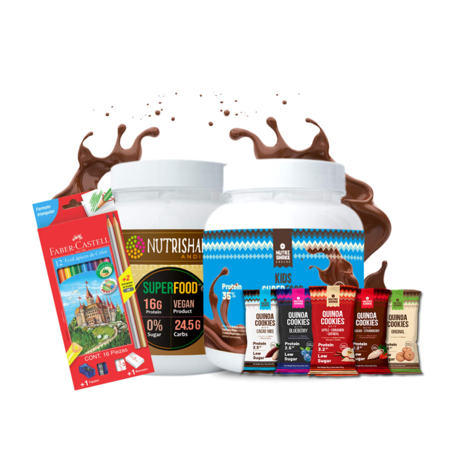 1 Kids Superfood + 1 Proteína Vegana Cacao + 5 Quinoa Cookies + 1 Caja de colores Faber Castell