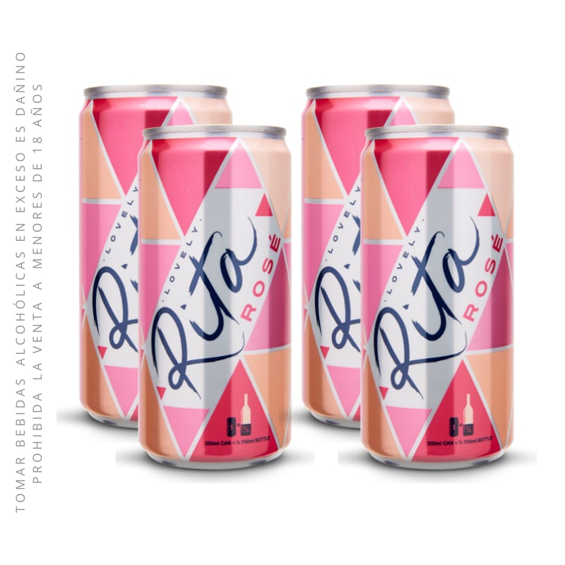 Four Pack Vino Rita Rosé Lata 250 Ml