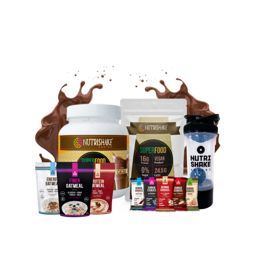 2 Proteína Vegana Cacao + 3 Avenas + 5 Quinoa Cookies + 1 Shaker