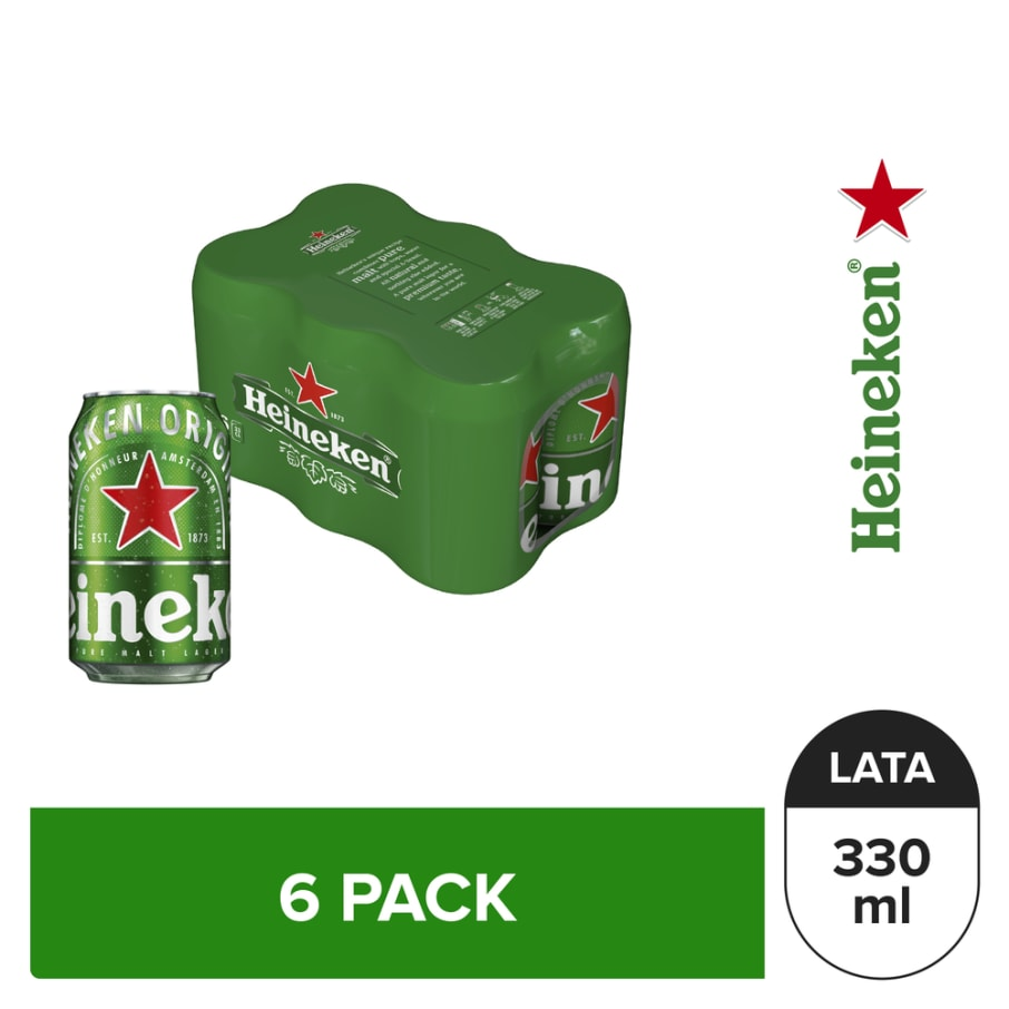 Cerveza Heineken 6 pack Lata 330 ml