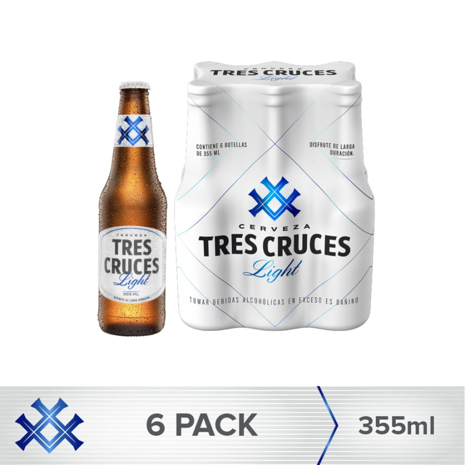 Cerveza Tres Cruces Light Vidrio 355 ml