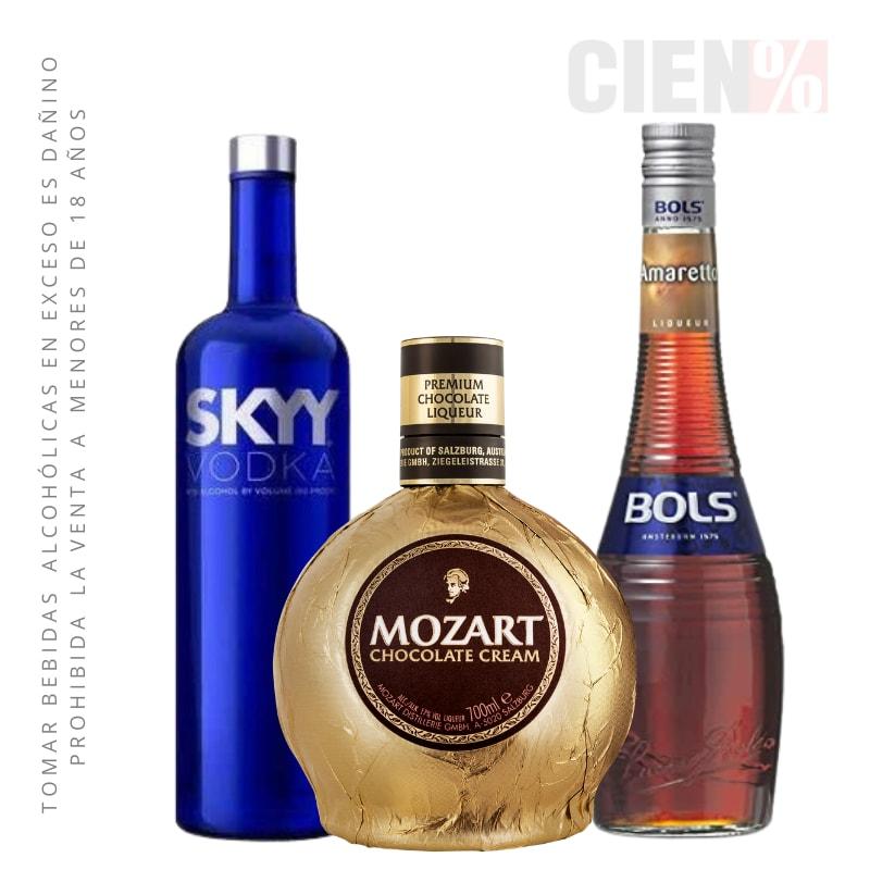 Mozart Martini: Mozart + Vodka + Licor Amaretto