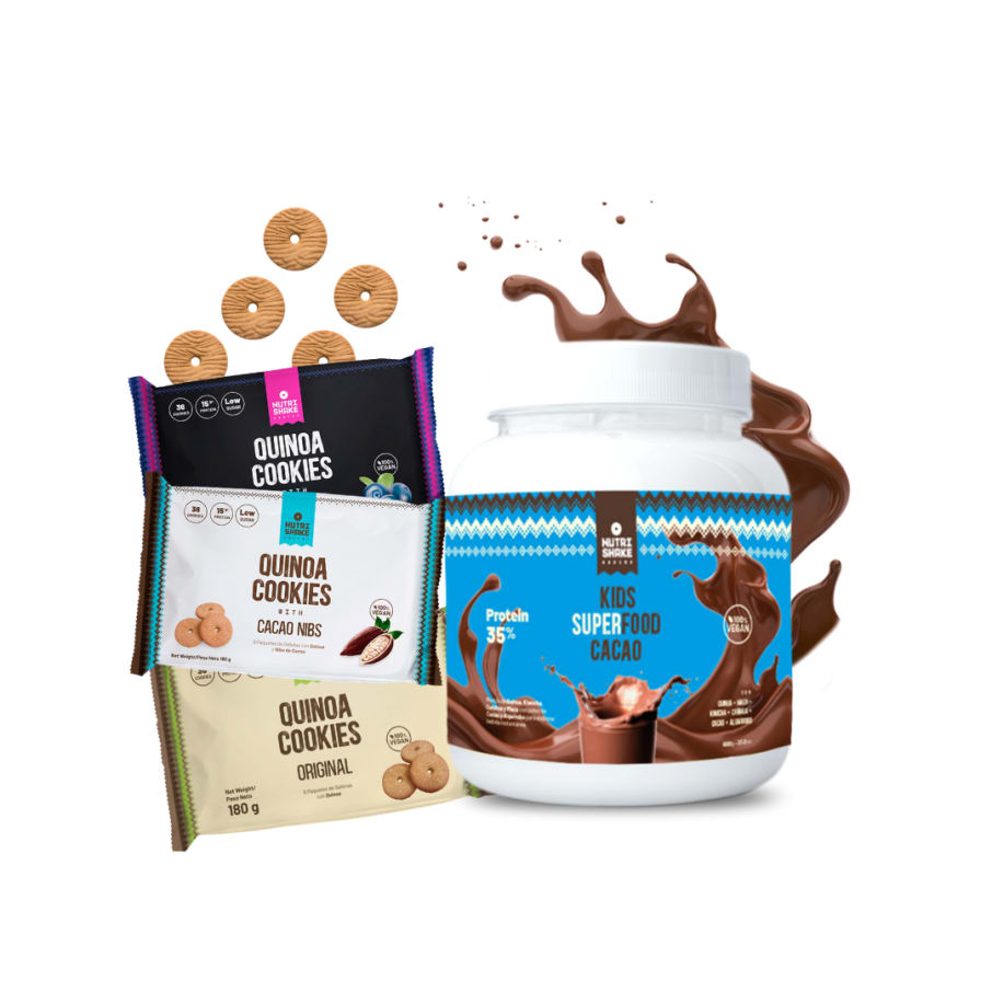 1 Kids Superfood + 3 Six Pack Quinoa Cookies (Blueberry, Cacao Nibs, Original)
