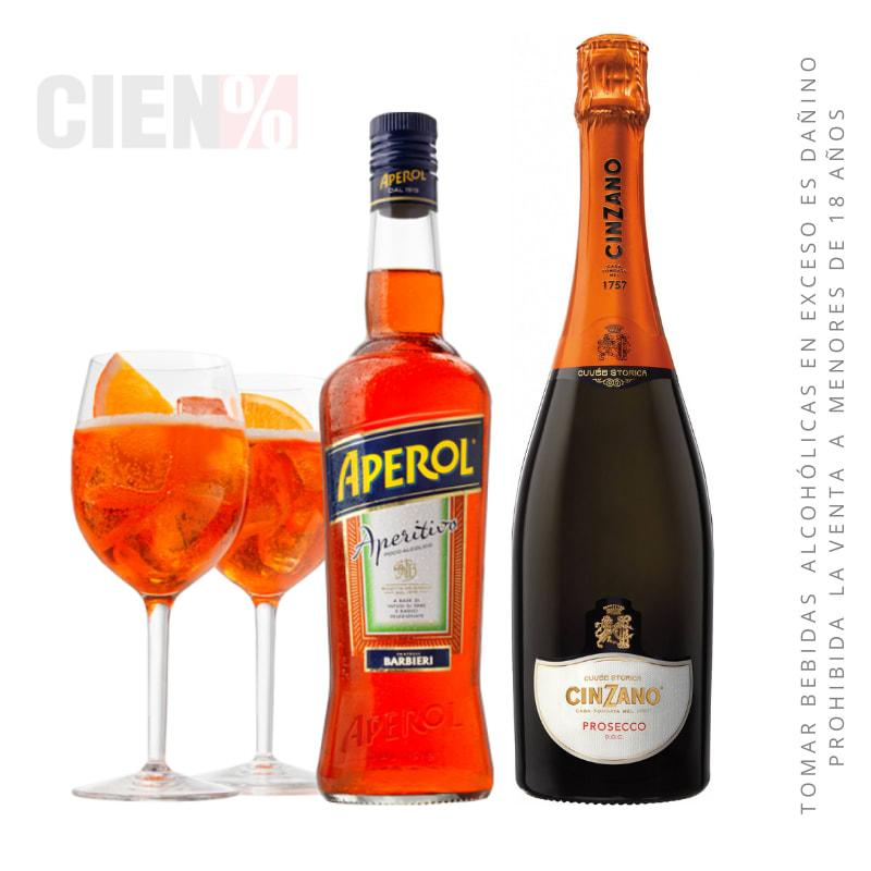 Pack 1 Aperol Spritz : 02 COPAS + Aperol + Espumante Proseco