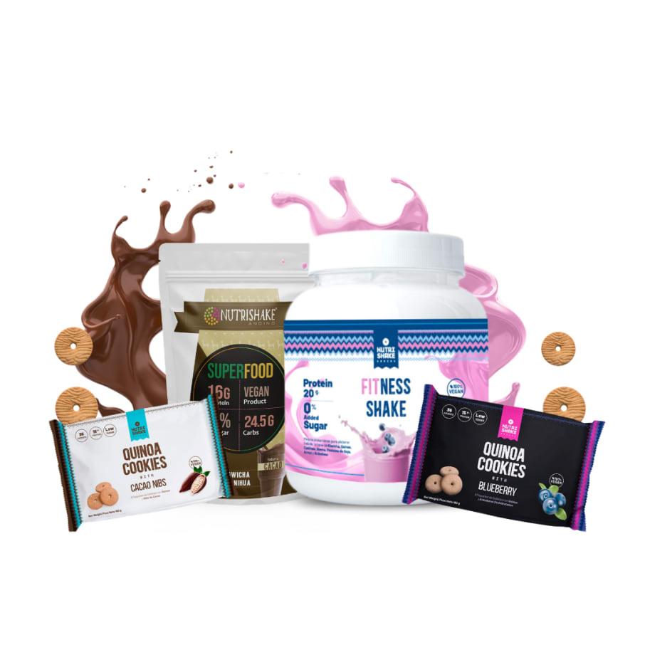1 Fitness + 1 Proteína de Cacao + 2 Six pack de Quinoa Cookies