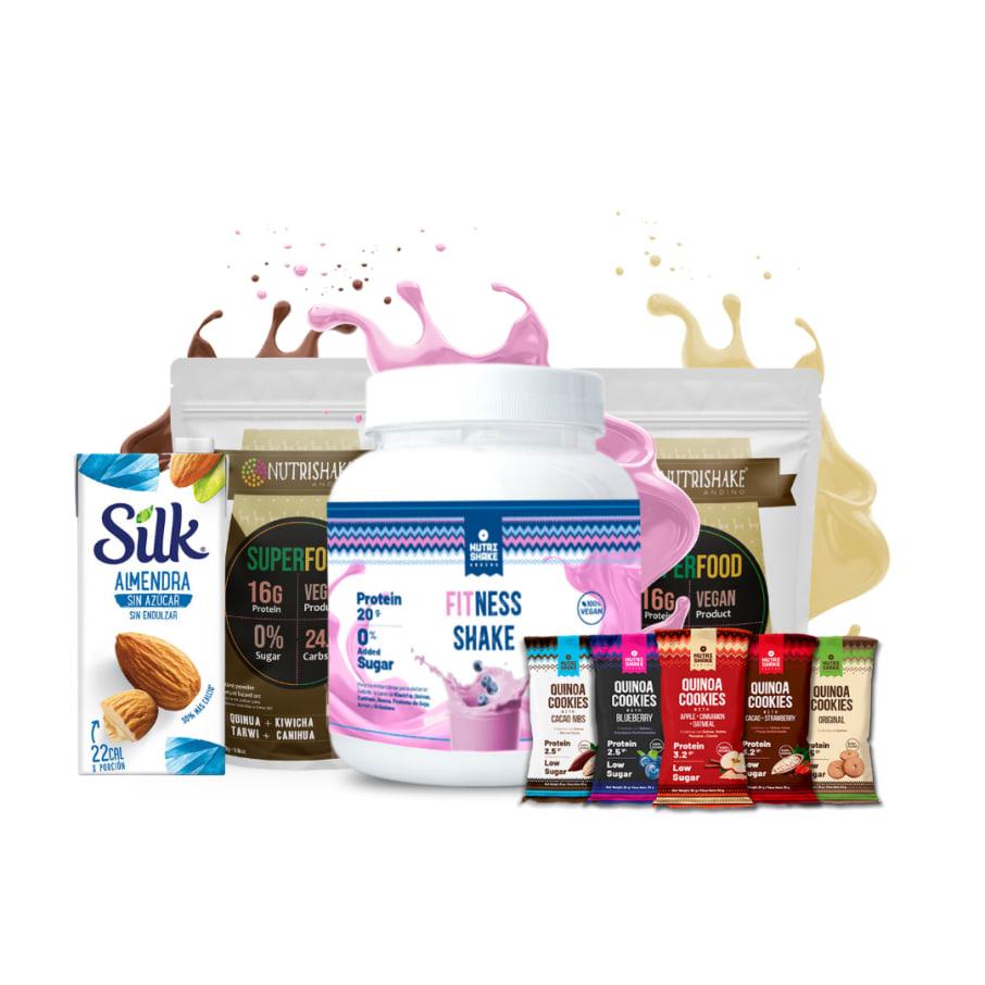 1 Fitness + 2 Proteína Vegana Mix + Leche Silk + 5 Quinoa Cookies