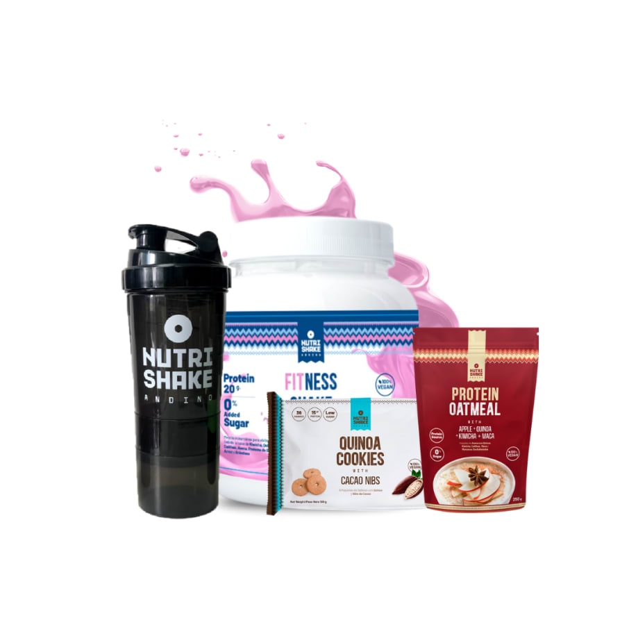 1 Fitness + 1 Smart Shaker + 1 Avena de Manzana + 1 Six pack de Cacao Nibs