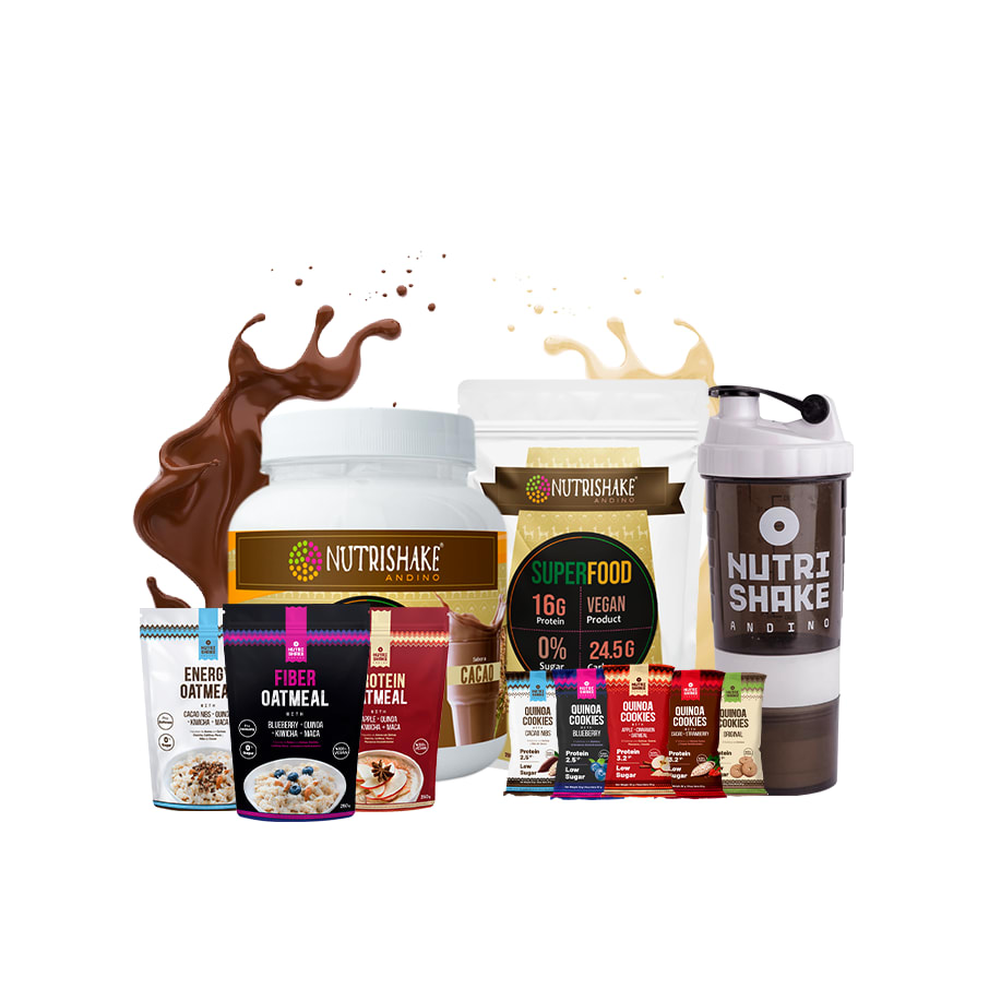 1 Proteína Vegana Cacao + 1 Proteína Vegana Vainilla + 3 Avenas + 5 Quinoa Cookies + 1 Shaker