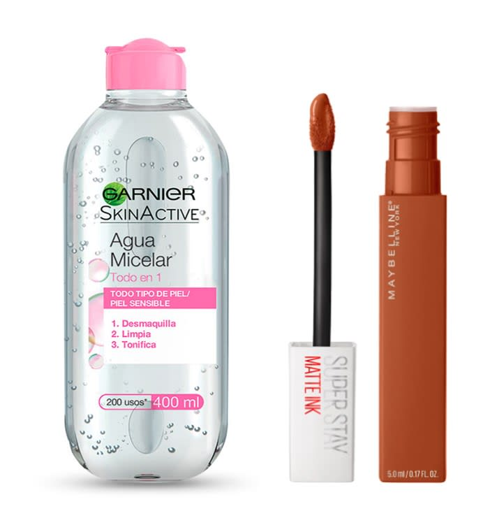 Pack Agua Micelar Garnier + Labial Super Stay Matte Ink tono Globetrotter Maybelline