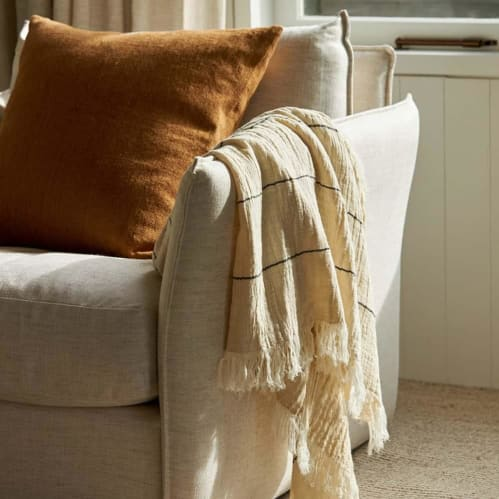Double Weave Throw - Natural/Black