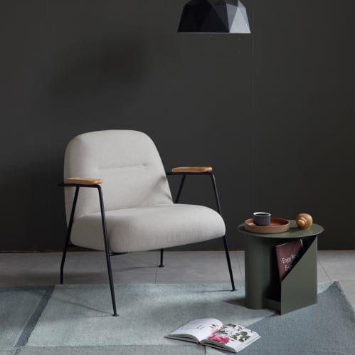 Puffy Lounge Chair With Arm - Light Grey