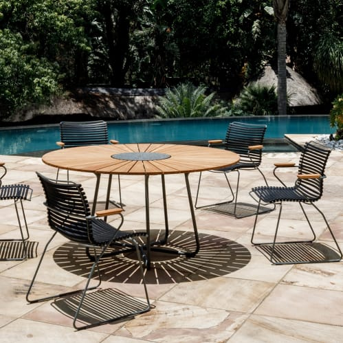 Circle Outdoor Dining Table 150cm - Bamboo/Grey