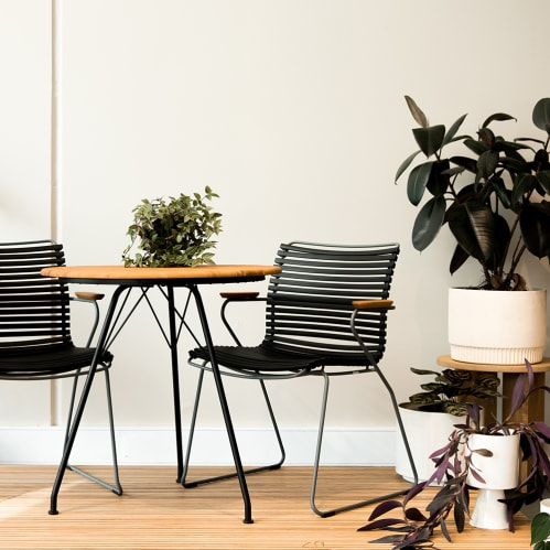 Circum Outdoor Round Dining Table - Bamboo/Black
