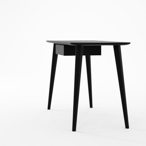 Domani Desk with Draw in European Oak Black Satin
