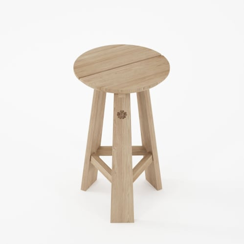 East round  Counter Stool - Oak