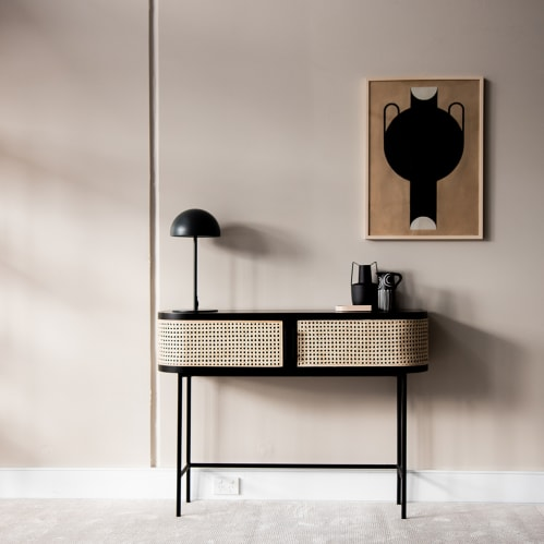 Embrace Rattan Console Table - Black