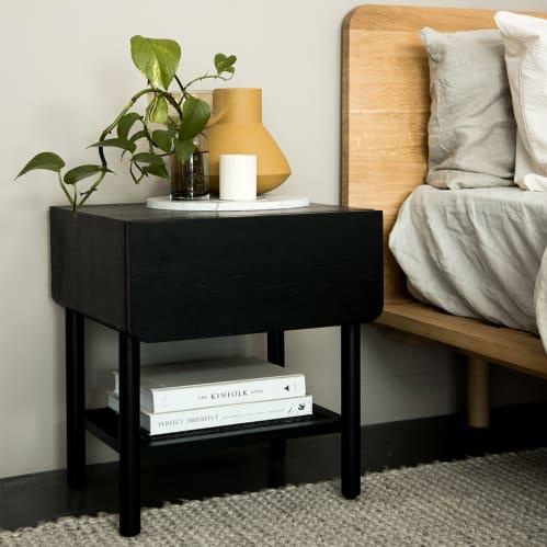 Surround Rattan Bedside Table - Black
