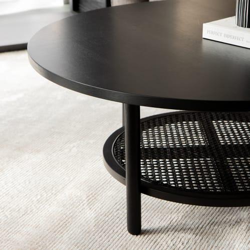 Radial Rattan Coffee Table - Black