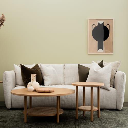 Radial Rattan Coffee Table - Oak