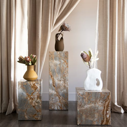 Stage Marble Side Table Tall - Earth Marble